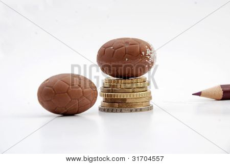 chocolate balls on euro co?ns