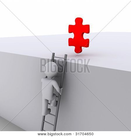 Person Climbing Ladder For Solution