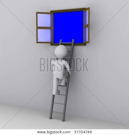 Person Climbing Ladder To Look Out Of Window