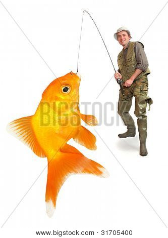 The fisherman with his big Goldfish. Successful business concept.