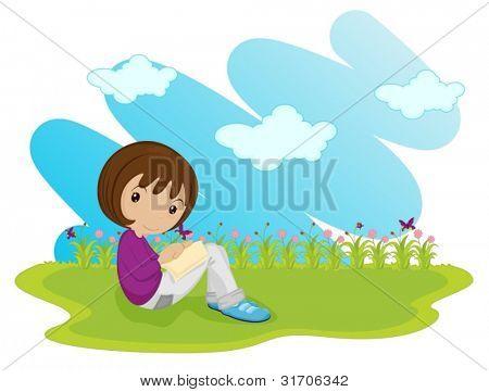 girl sitting alone in field
