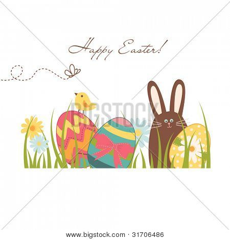 Fundo de Páscoa com coelho bonito de chocolate, ovos coloridos e um pintainho