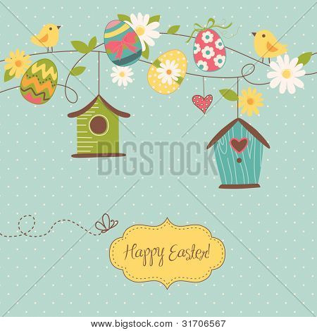 Beautiful Spring background with bird houses, birds, eggs and flowers