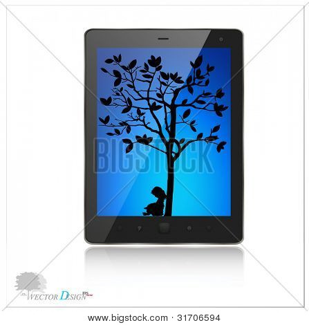 A modern tablet pc with silhouette of children read a book under tree. Vector background. Vector illustration.