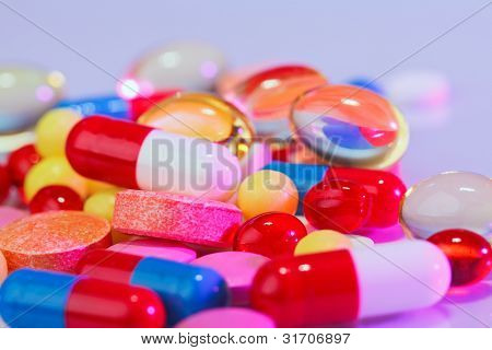 Pills, tablets and drugs macro view, medical concept