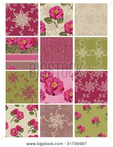 Floral Camilla Flower Seamless Repeat Vector Patterns.  Use to create stunning digital paper or print out for various craft projects.