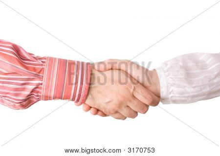 Man And Woman Giving A Handshake
