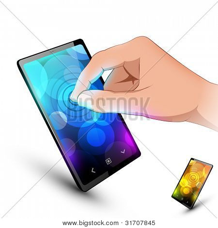 Man hand is touching sensory phone. Variant on white background.