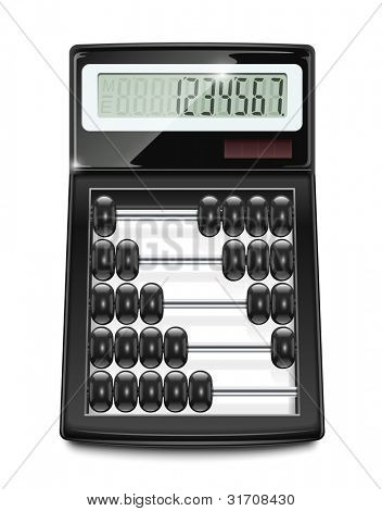 electronic calculator abacus vector illustration isolated on white background EPS10. Transparent objects and opacity masks used for shadows and lights drawing