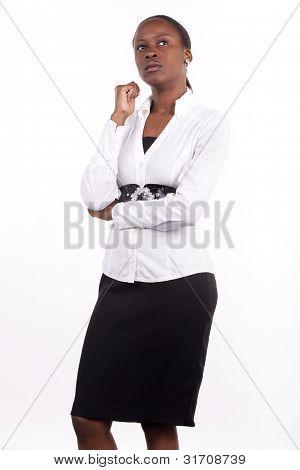 Thoughtful corporate woman