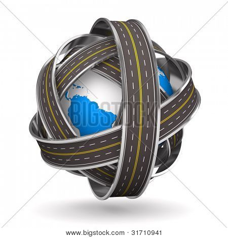 Roads round globe on white background. Isolated 3D image