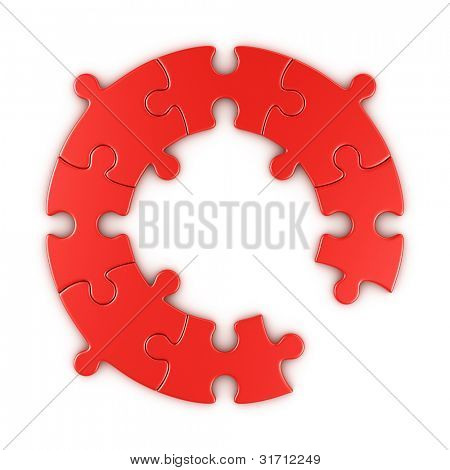 3d rendering of a circular puzzle with one piece missing