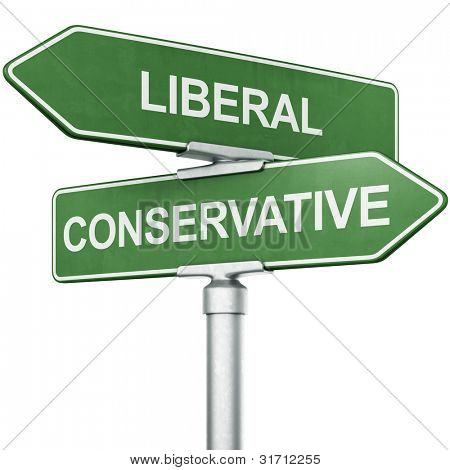 "3d rendering of signs with ""LIBERAL"" and ""CONSERVATIVE"" pointing in opposite directions"