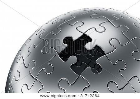 3d rendering of a spherical puzzle with one piece missing