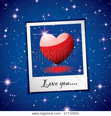 Love heart concept with space background and instant photograph