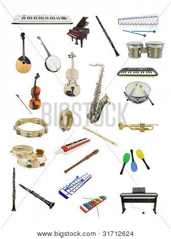 The image of music instruments under the white background