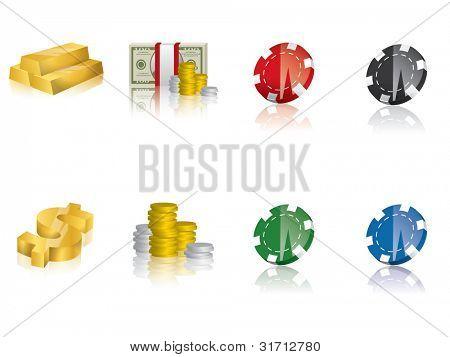 Gold, money icons