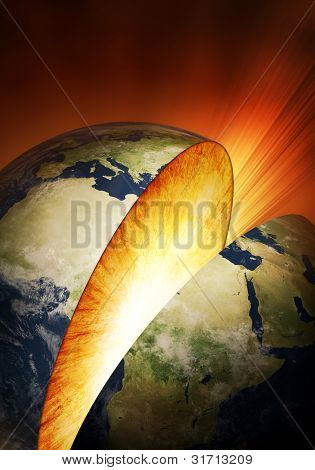 Planet Earth breaking in two (Elements of this image furnished by NASA: earthmap  http://visibleearth.nasa.gov)