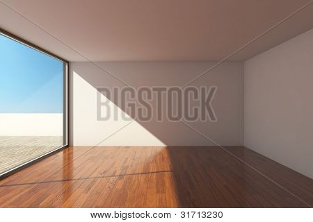 Empty modern hall with big window