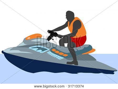 drawing of driver's jetski in the water