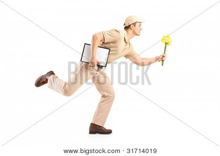 Delivery boy in a rush delivering flowers isolated on white background