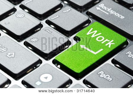 Green work button on the keyboard