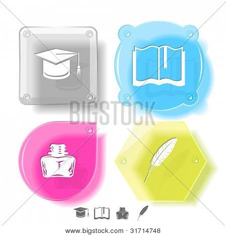 Education icon set. Graduation cap, book, inkstand, feather. Glass buttons. Raster illustration.