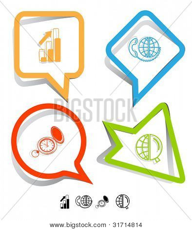 Business icon set. Global communication, watch, globe and magnifying glass, diagram. Paper stickers. Raster illustration.