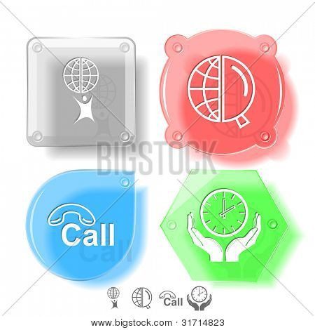 Business icon set. Little man with globe, globe and magnifying glass, clock in hands, hotline.  Glass buttons. Raster illustration.