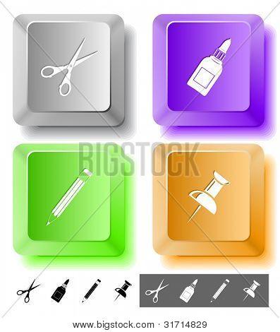 Education icon set. Push pin, pencil, scissors, glue bottle. Computer keys. Raster illustration.