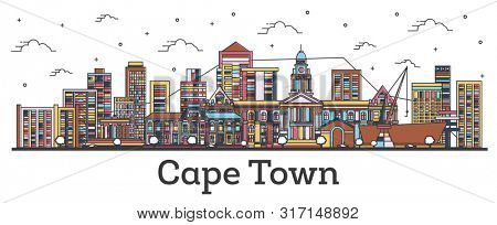 Outline Cape Town South Africa City Skyline with Color Buildings Isolated on White. Cape Town Citysc poster