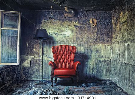 luxur? armchair in grunge interior (Photo compilation. Photo and hand-drawing elements combined.)
