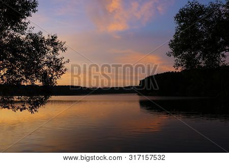 poster of Sunset River Sky Clouds Landscape. River Sunset Horizon View. Sunset River Landscape. River Sunset V