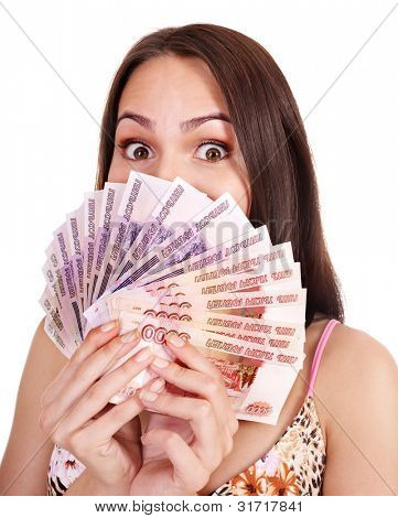 Woman with  money (Russian rouble). Isolated.