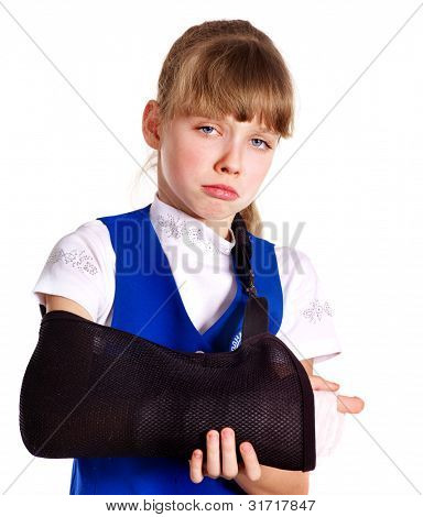 Broken arm in a cast. Isolated.