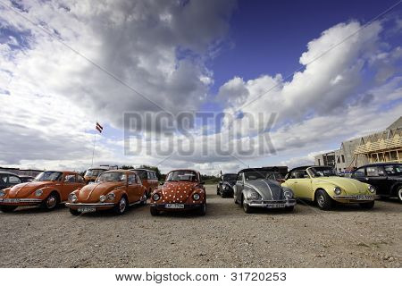 CINEVILLA, LATVIA - OCTOBER 2: Volkswagen Beetle cars Meeting on October 2, 2010, Cinevilla, Latvia. The VW Beetle is longest running and most manufactured car of a single design platform in the world
