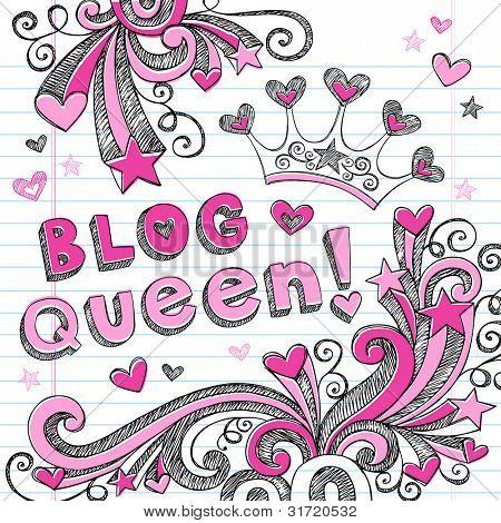 Hand-Drawn Sketchy Doodle Blog Queen Back to School Notebook Doodles Vector Illustration Design Elements Set