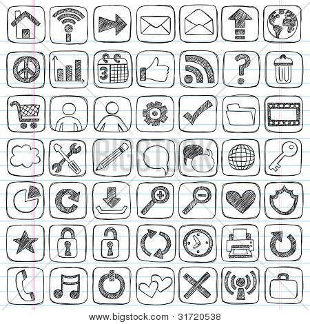 Sketchy Doodle Web / Computer Icon Set - Back to School Style Notebook Doodles Vector Illustration Design Elements on LIned Sketchbook Paper