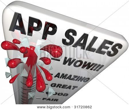 The words App Sales on a thermometer tracking the rising revenues and profits enjoyed by application software stores offering downloadable software for smart phones and mobile computers