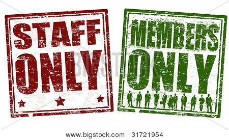 Staff And Member Only Stamps