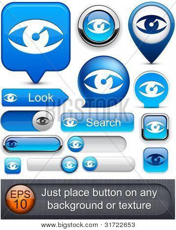 Auge blau Web Buttons für Website oder App-Vektor-eps10.