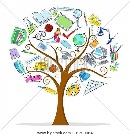 illustration of education object in wisdom tree