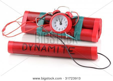 Timebomb made of dynamite isolated on white