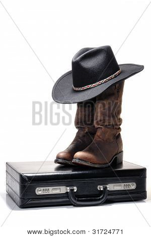 Western Cowboy Hat And Boots On Business Briefcase