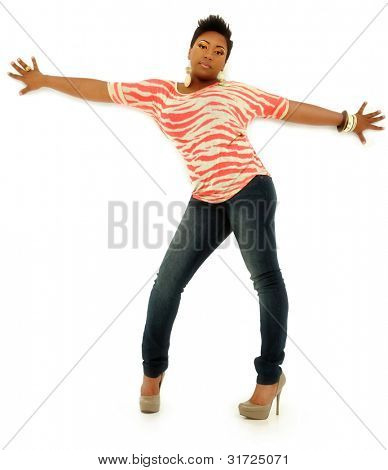 Attractive Black Female Posing With Arms Spread Over White Background