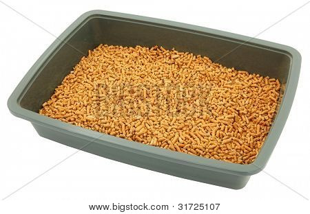 Close Up Of Pet Litter Box With Organic Pellets