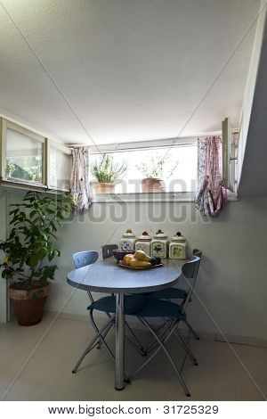 interior apartment, small loft furnished, kitchen