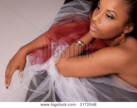 Beautiful Black Woman Laying Down with