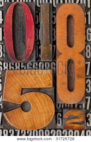 number abstract - vintage  letterpress wood type stained by color ink over metal typeset