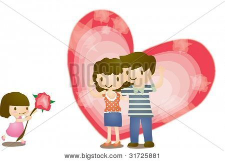 Happy Anniversary Day with cute little girl and smiling parents on white background